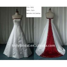 Vestido de casamento requintado e requintado de cetim e renda de alta qualidade