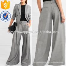 Широкие штанины серые шерстяные брюки Производство Оптовая продажа женской одежды (TA3044P)