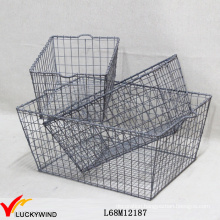 Vintage Gray Stackable Industrial Metal Wire Crates for Storage