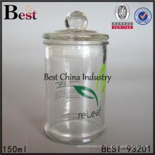 tarro de cristal redondo claro de 150ml con el envase barato del caramelo del té de la tapa de cristal China alibaba, muestra libre