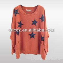 12STC0595 estrellas embellecieron el suéter de las mujeres 100% acrílico