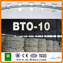 Used metal Razor barbed wire fence