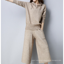 PK18ST094 cashmere hoodie camisola moda terno para mulher
