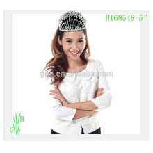 New designs rhinestone royal accessories cheap tall pageant date crown metal crown decor