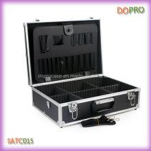 Atacado cor preta lidar com caixa de ferramentas portáteis cabeleireiro (sate015)