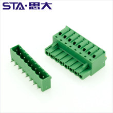 5.08mm female sockets spring pluggable 300v 10a plug in pcb ce rohs terminal