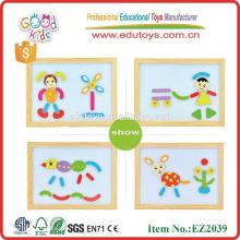 Siguió vendiendo caballete de madera DIY puzzles para niños OEM caja de cartón magnético con patrones EZ2039