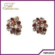 wholesale fashion accessories diamond rose gold earrings