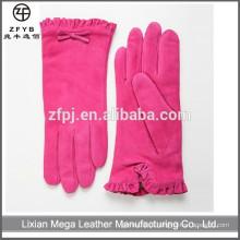 Melhor venda rosa nupcial vestido de pele de porco mulheres luvas de couro