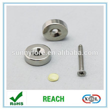 nickel plated magnet with screw hole