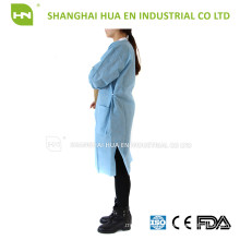 Medical disposable SMS lab coat with knitted collar and cuff