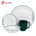 Ensemble de dîner en céramique en blanc et vert en céramique