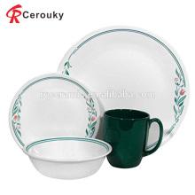 Kundenspezifisches Großhandelsweihnachtsgeschenk weißes und grünes Abziehbild keramisches Abendessen eingestellt