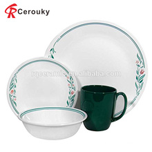 Custom wholesale christmas gift white and green decal ceramic dinner set