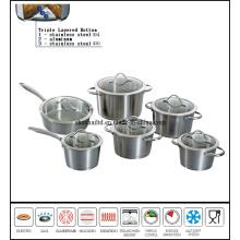 12PCS Stainless Steel Impact Bottom Casserole Set