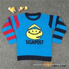 Fancy Yarn Poliéster cuello redondo Long Slip Color Sleeves Jacquard Sweater para niños