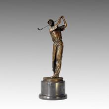 Sports Bronze Sculpture Golf Player Caeving Brass Statue, Milo TPE-028