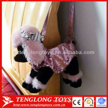 2015 new design delicate poodle puppy plush toy bag