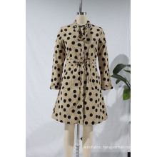 Women Vintage Polka Dots Printing Breasted Buttons Skirts