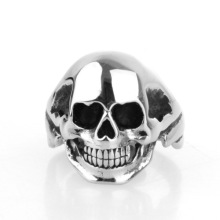 Low MOQ black Titanium finger skull ring
