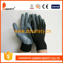 Nylon noir recouvert de gants en nitrile-Dnn417