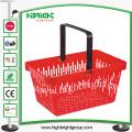 Panier à provisions en plastique portatif de poignée simple pour le supermarché