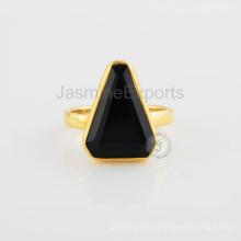 Schwarzes Onyx Stein Gold überzogene Sterlingsilber-Entwerfer-Schmucksachen