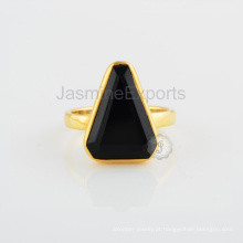 Black Onyx Stone Gold Plated Sterling Silver Designer Jewelry