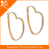 2016 fashion colored crystal large heart hoop earrings for women