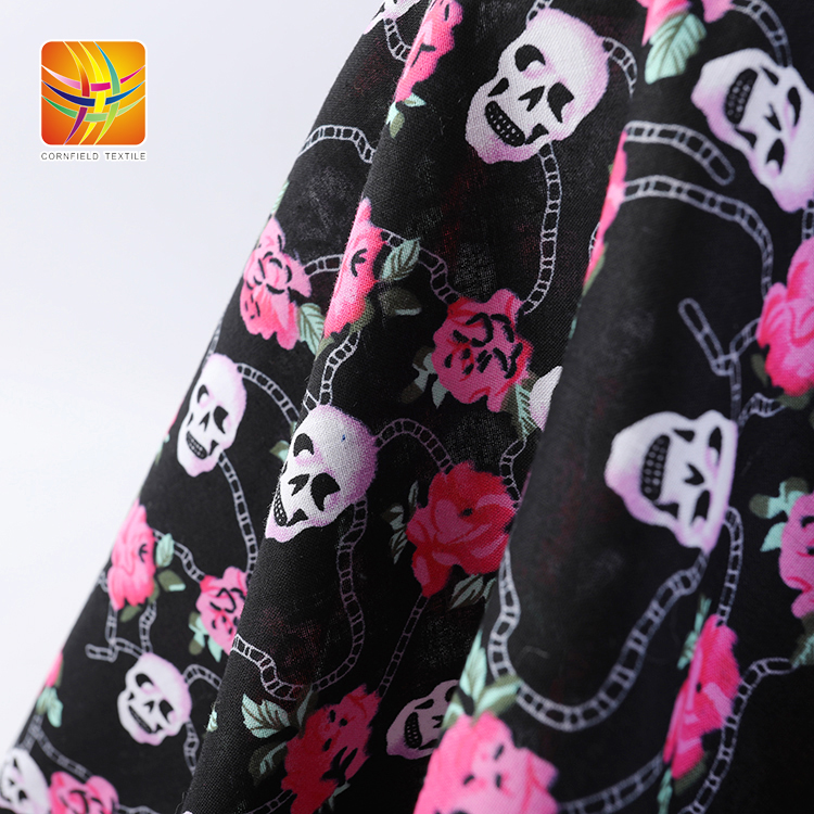 Rose and Skull Printed Fabric