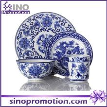 Conjunto de Jantar de Porcelana Azul e Branca