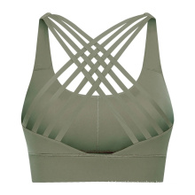 Breathable Mesh Zipper Back Yoga Sports Bra with Removable Cups