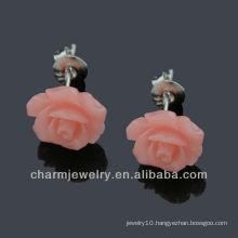 Natural Resin Rose Flower stud earrings hypo allergic stainless stee Post EF-001