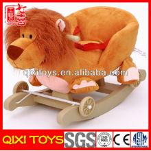 Logo personnalisé cadeau promotionnel lion en peluche rocking chair avec roues