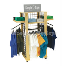 Economical Free Standing 4-Way 4 Catser Movable Supermarket Portable T Shirt Floor Display Stand