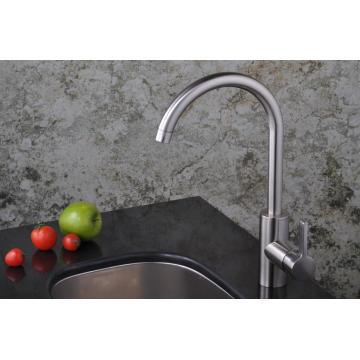 Cepillo de mango de un solo nivel Nickle Grifo de lavabo de cocina Goose Neck Mezclador de grifo de agua