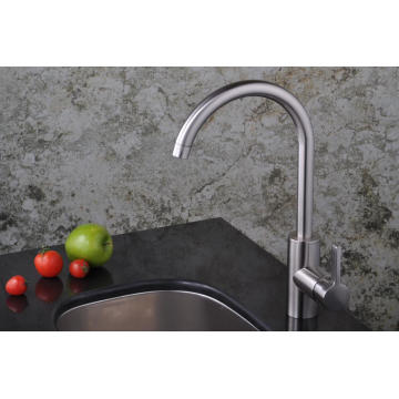 Single Level Handle Brush Nickle Kitchen Sink Faucet Goose Neck Water Tap Mixer