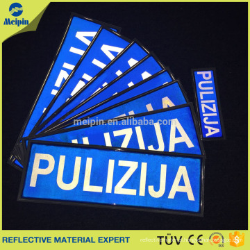 Police reflective logo PVC Material for sewing on Police Clothes
