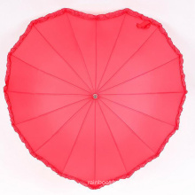 Romantic red heart-shaped 16ribs aluminum shaft with foam handle wedding umbrella