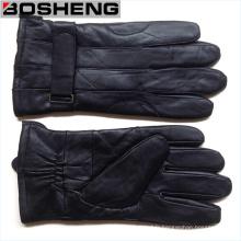 New Winter Warm Men Gants en cuir noir et doux Cachemire doublé