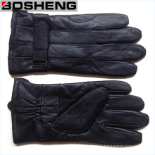 Новые зимние теплые мужчины Черные мягкие кожаные перчатки Кашемир выложены