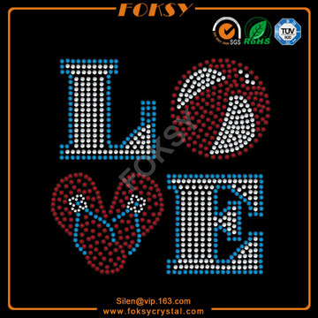 Customized for Fall In Love  Rhinestone Transfer Love ball Flip Flops wholesale iron-on transfers export to Cote D'Ivoire Factories