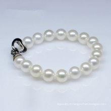 Bracelet à perles rondes naturelles naturelles de style classique (E150029)