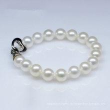 Klassische Art Natürliche Süßwasser Runde Perlen Armband (E150029)