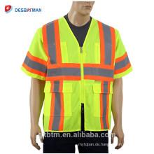 2018 neue ANSI Klasse 3 100% Polyester Hallo Vis Gelb Bauarbeiter Uniform Reflektierende Streifen Sicherheitsweste Mit Taschen