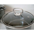 mirror face strait hot pot sets with glass lid