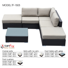 1.2mm aluminum frame L-shaped wicker patio sectional sofa set.