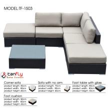1.2mm aluminum frame L-shaped wicker patio sectional sofa set.