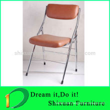 2014 best selling leather pop chromed office folding chair 109