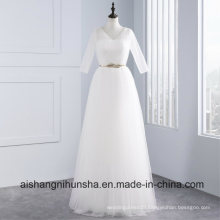 Elegant Tulle Floor Length Regular Half Sleeves Wedding Dress